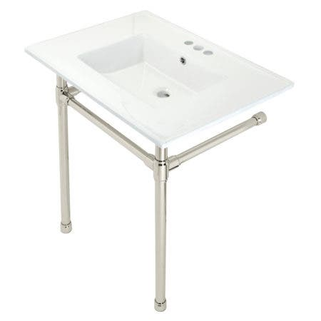 """Kingston Brass KVPB31227W46 Dreyfuss 31"""" Console Sink with Stainless Steel Legs (4-Inch, 3 Hole), White/Polished Nickel"""