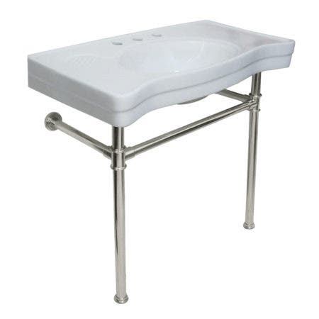 Kingston Brass VPB1366ST Imperial Ceramic Console Sink with Stainless Steel Legs, White/Polished Nickel