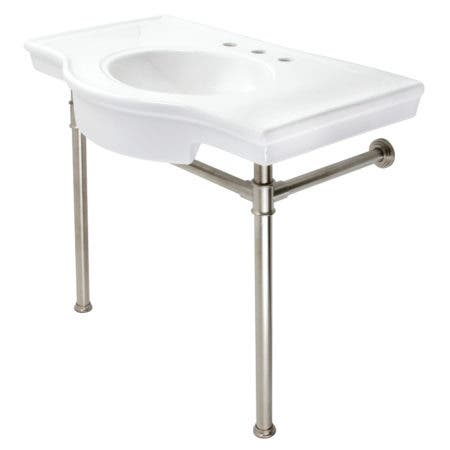 """Kingston Brass VPB1378ST Templeton 37"""" Ceramic Console Sink with Stainless Steel Legs, White/Brushed Nickel"""