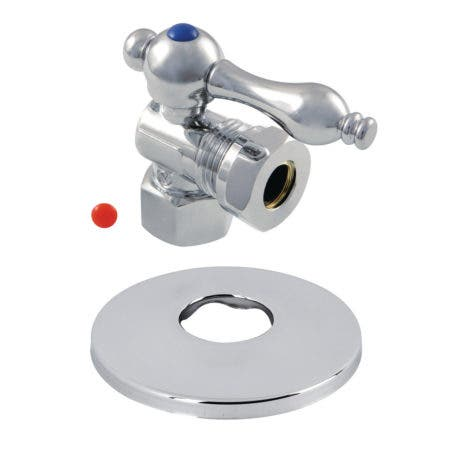 Kingston Brass CC44101K 1/2-Inch FIP X 1/2-Inch or 7/16-Inch O.D. Slip Joint Quarter-Turn Angle Stop Valve with Flange, Polished Chrome