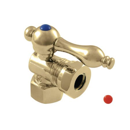 "Kingston Brass CC44102 1/2"" FIP X 1/2"" or 7/16"" Slip Joint Angle Stop Valve, Polished Brass"