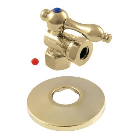 Kingston Brass CC44102K 1/2-Inch FIP X 1/2-Inch or 7/16-Inch O.D. Slip Joint Quarter-Turn Angle Stop Valve with Flange, Polished Brass