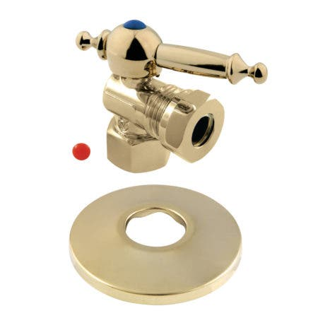 Kingston Brass CC44102TLK 1/2-Inch FIP X 1/2-Inch or 7/16-Inch O.D. Slip Joint Quarter-Turn Angle Stop Valve with Flange, Polished Brass