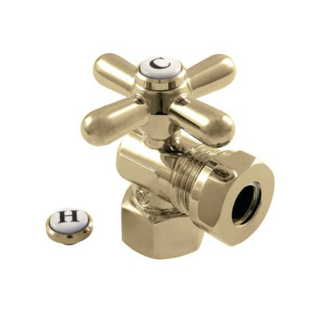 "Kingston Brass CC44102X 1/2"" FIP X 1/2"" or 7/16"" Slip Joint Angle Stop Valve, Polished Brass"