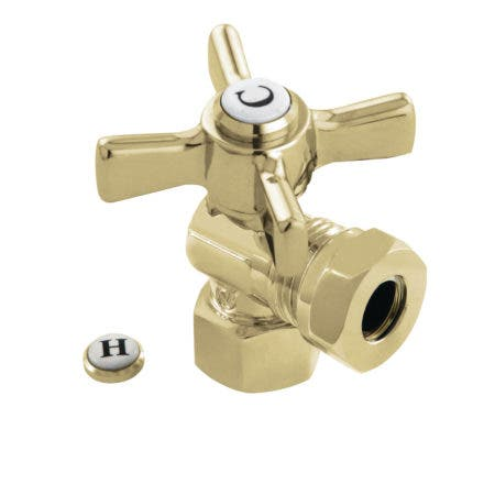 "Kingston Brass CC44102ZX 1/2"" FIP X 1/2"" or 7/16"" Slip Joint Angle Stop Valve, Polished Brass"