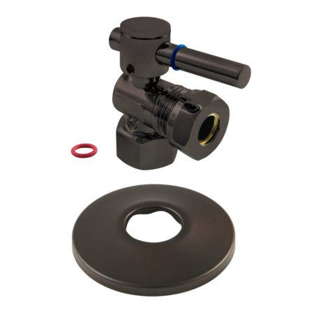 Kingston Brass CC44105DLK 1/2-Inch FIP X 1/2-Inch or 7/16-Inch O.D. Slip Joint Quarter-Turn Angle Stop Valve with Flange, Oil Rubbed Bronze