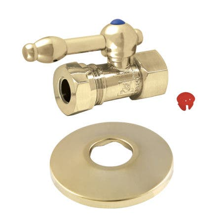 Kingston Brass CC44152KLK 1/2-Inch FIP X 1/2-Inch or 7/16-Inch Slip Joint Quarter-Turn Straight Stop Valve with Flange, Polished Brass