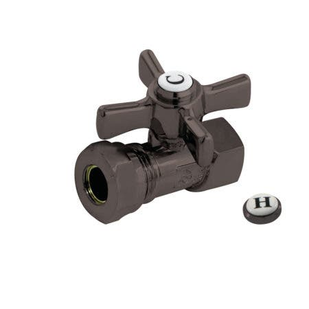"""Kingston Brass CC44155ZX 1/2"""" FIP X 1/2"""" or 7/16"""" Slip Joint Straight Stop Valve, Oil Rubbed Bronze"""