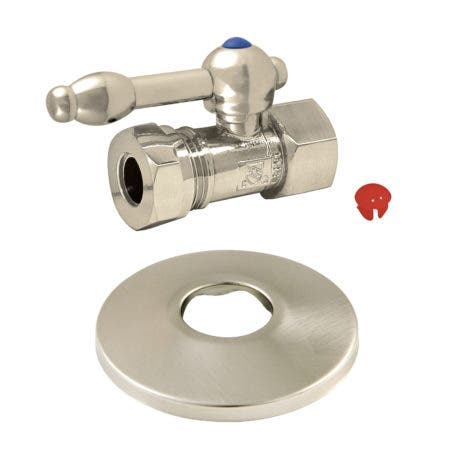 Kingston Brass CC44158KLK 1/2-Inch FIP X 1/2-Inch or 7/16-Inch Slip Joint Quarter-Turn Straight Stop Valve with Flange, Brushed Nickel