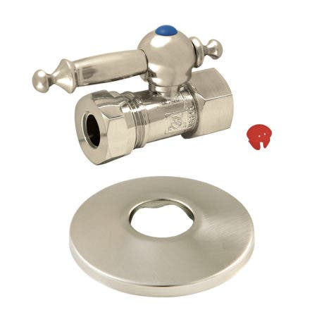 Kingston Brass CC44158TLK 1/2-Inch FIP X 1/2-Inch or 7/16-Inch Slip Joint Quarter-Turn Straight Stop Valve with Flange, Brushed Nickel