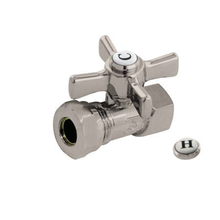 """Kingston Brass CC44158ZX 1/2"""" FIP X 1/2"""" or 7/16"""" Slip Joint Straight Stop Valve, Brushed Nickel"""