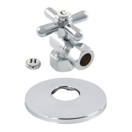 Kingston Brass CC44401XK 1/2-Inch FIP X 1/2-Inch OD Comp Quarter-Turn Angle Stop Valve with Flange, Polished Chrome