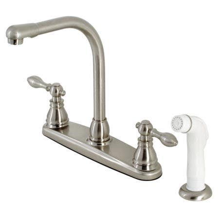 Kingston Brass KB718ACL American Classic Centerset Kitchen Faucet with Side Sprayer, Brushed Nickel