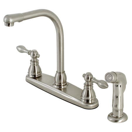 Kingston Brass KB718ACLSP American Classic Centerset Kitchen Faucet with Side Sprayer, Brushed Nickel
