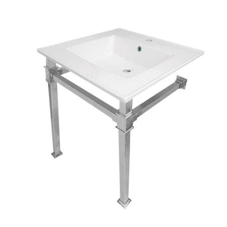 Kingston Brass KVPB25221Q1 Monarch 25-Inch Ceramic Console Sink (1-Hole), White/Polished Chrome