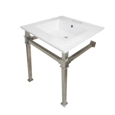"""Kingston Brass KVPB25224Q6 Monarch 25-Inch Ceramic Console Sink (4"""" Faucet Drilling), White/Polished Nickel"""