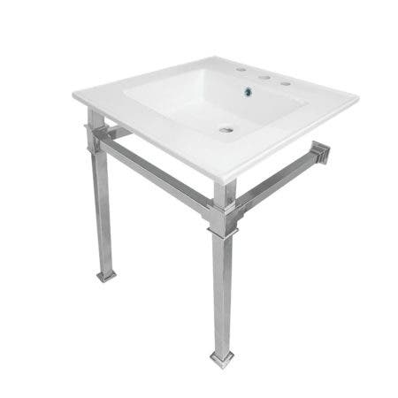 "Kingston Brass KVPB25228Q1 Monarch 25-Inch Ceramic Console Sink (8"" Faucet Drilling), White/Polished Chrome"