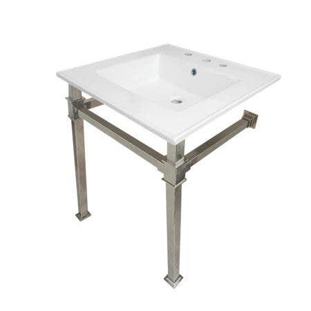 """Kingston Brass KVPB25228Q6 Monarch 25-Inch Ceramic Console Sink (8"""" Faucet Drilling), White/Polished Nickel"""