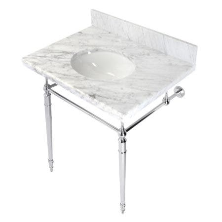 """Kingston Brass KVPB3022M81 Edwardian 30"""" Console Sink with Brass Legs (8-Inch, 3 Hole), Marble White/Polished Chrome"""