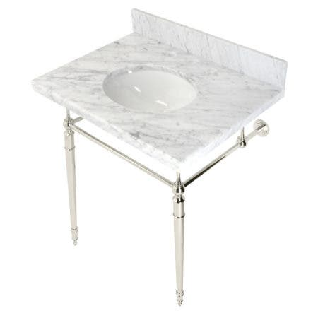 """Kingston Brass KVPB3022M86 Edwardian 30"""" Console Sink with Brass Legs (8-Inch, 3 Hole), Marble White/Polished Nickel"""