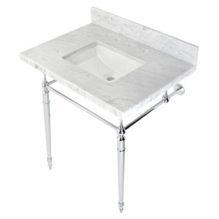 """Kingston Brass KVPB3022M8SQ1 Edwardian 30"""" Console Sink with Brass Legs (8-Inch, 3 Hole), Marble White/Polished Chrome"""