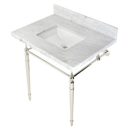 """Kingston Brass KVPB3022M8SQ6 Edwardian 30"""" Console Sink with Brass Legs (8-Inch, 3 Hole), Marble White/Polished Nickel"""