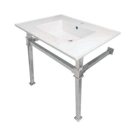 Kingston Brass KVPB31221Q1 Monarch 31-Inch Ceramic Console Sink (1-Hole), White/Polished Chrome