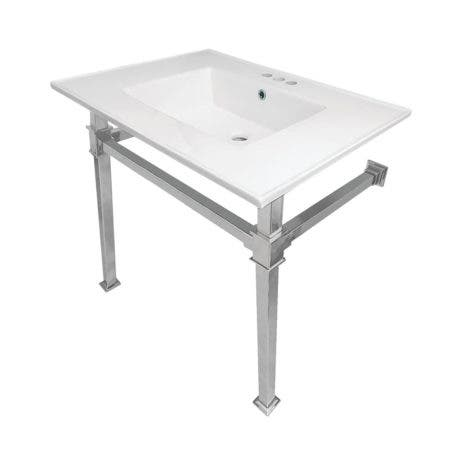 "Kingston Brass KVPB31224Q1 Monarch 31-Inch Ceramic Console Sink (4"" Faucet Drilling), White/Polished Chrome"