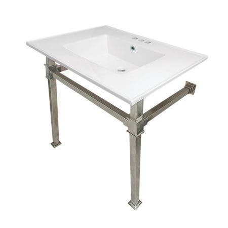 """Kingston Brass KVPB31224Q6 Monarch 31-Inch Ceramic Console Sink (4"""" Faucet Drilling), White/Polished Nickel"""