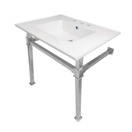 "Kingston Brass KVPB31228Q1 Monarch 31-Inch Ceramic Console Sink (8"" Faucet Drilling), White/Polished Chrome"