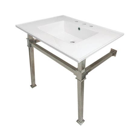 """Kingston Brass KVPB31228Q6 Monarch 31-Inch Ceramic Console Sink (8"""" Faucet Drilling), White/Polished Nickel"""
