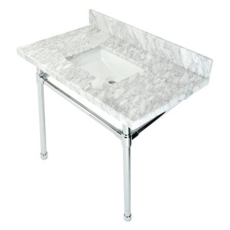 """Kingston Brass KVPB36M8SQ1ST Dreyfuss 36"""" Carrara Marble Vanity Top with Stainless Steel Legs, Marble White/Polished Chrome"""