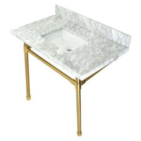 """Kingston Brass KVPB36M8SQ7ST Dreyfuss 36"""" Carrara Marble Vanity Top with Stainless Steel Legs, Marble White/Brushed Brass"""