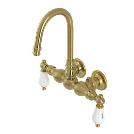 Aqua Vintage AE3T7 Vintage 3-3/8 Inch Wall Mount Tub Faucet, Brushed Brass