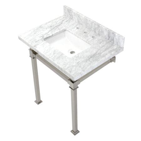 Kingston Brass KVPB30MSQ6 Monarch 30-Inch Carrara Marble Console Sink, Marble White/Polished Nickel