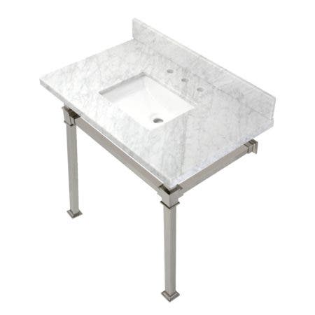 Kingston Brass KVPB36MSQ6 Monarch 36-Inch Carrara Marble Console Sink, Marble White/Polished Nickel