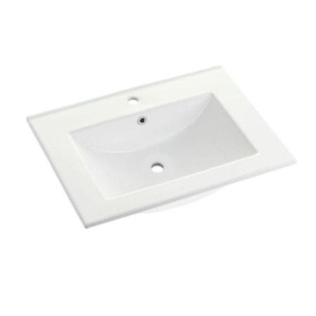 Fauceture LBT24187W1 Ultra Modern 24-Inch X 18-Inch Ceramic Vanity Top (1 Hole), White