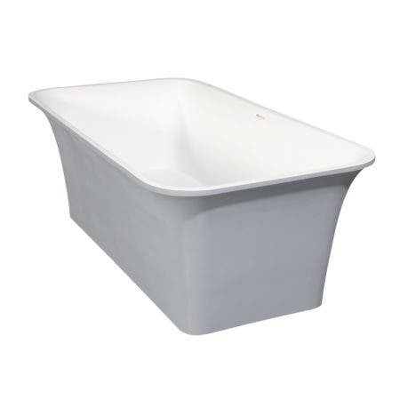 Aqua Eden VRTSQ673624WG Arcticstone 67-Inch Solid Surface White Stone Freestanding Tub with Drain in Matte White/Gray