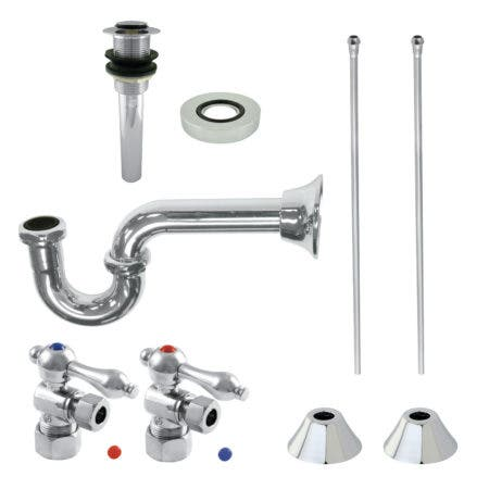 Kingston Brass CC53301VKB30 Traditional Plumbing Sink Trim Kit with P-Trap and Drain, Polished Chrome