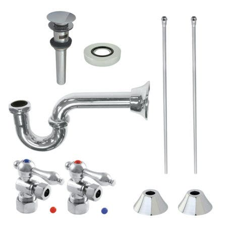 Kingston Brass CC53301VOKB30 Traditional Plumbing Sink Trim Kit with P-Trap and Overflow Drain, Polished Chrome