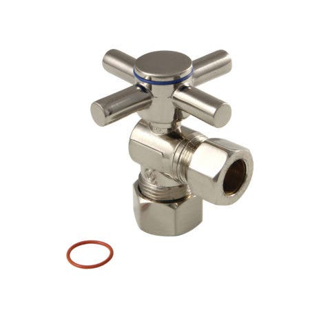 """Kingston Brass CC54408DX Concord 5/8"""" x 1/2"""" O.D. Comp, Quarter Turn Angle Stop Valve, Brushed Nickel"""