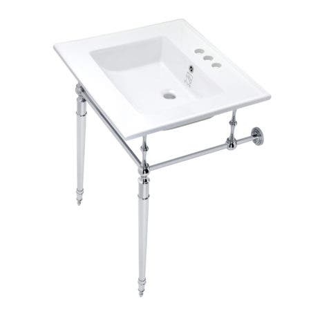 Kingston Brass KVPB25227W4CP Edwardian 25-Inch Console Sink with Brass Legs (4-Inch, 3 Hole), White/Polished Chrome
