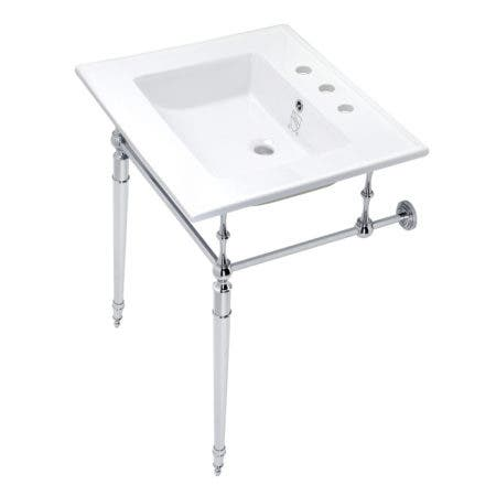 Kingston Brass KVPB25227W8CP Edwardian 25-Inch Console Sink with Brass Legs (8-Inch, 3 Hole), White/Polished Chrome