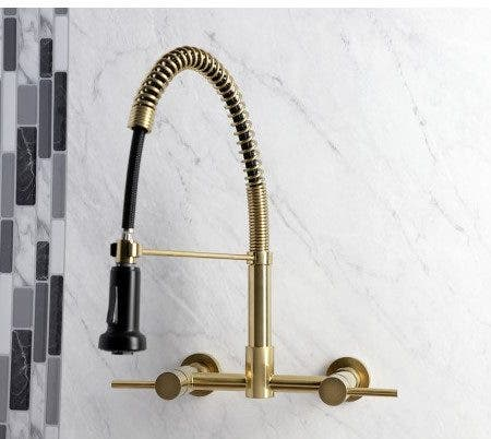 Gourmetier GS8187DL Concord 2-Handle Wall Mount Pull-Down Kitchen Faucet, Brushed Brass