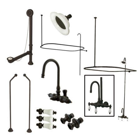 Kingston Brass CCK4185PL Vintage Gooseneck Clawfoot Tub Faucet Package 8-InchRough-In, Oil Rubbed Bronze