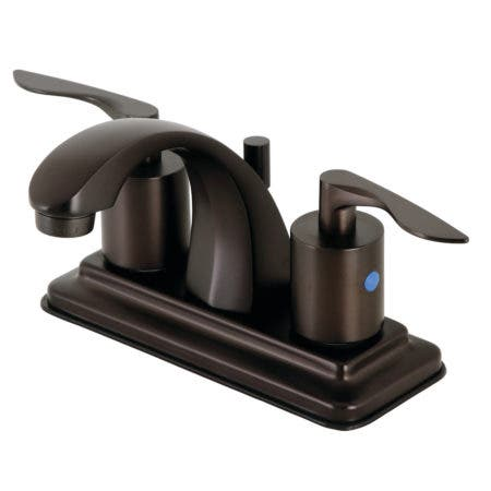 """Kingston Brass KB4645SVL Two-Handle 3-Hole Deck Mount 4"""" Centerset Bathroom Faucet with Retail Pop-Up in Oil Rubbed Bronze"""