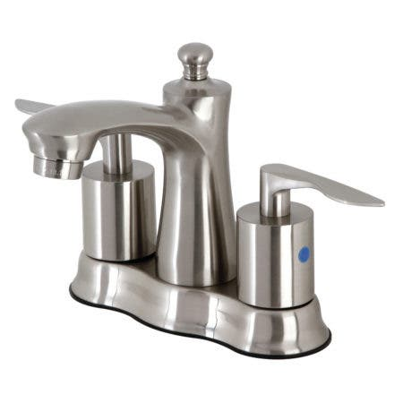 """Kingston Brass FB7618SVL 4"""" Centerset Bathroom Faucet with Retail Pop-Up, Brushed Nickel"""