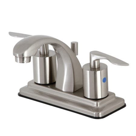 """Kingston Brass KB4648SVL 4"""" Centerset Bathroom Faucet with Retail Pop-Up, Brushed Nickel"""