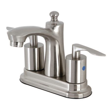 """Kingston Brass FB7628SVL 4"""" Centerset Bathroom Faucet with Retail Pop-Up, Brushed Nickel"""