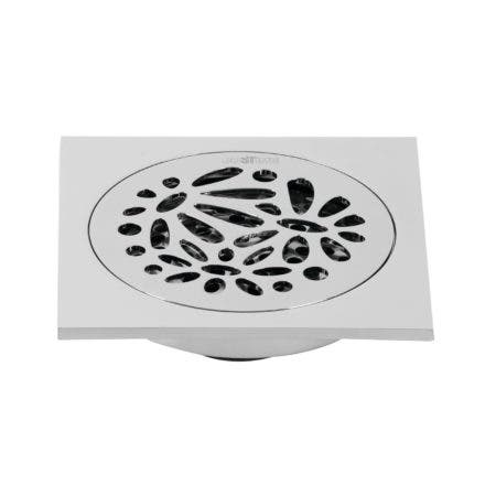 """Kingston Brass BSF6360C Watercourse Floral 4"""" Square Grid Shower Drain, Polished Chrome"""